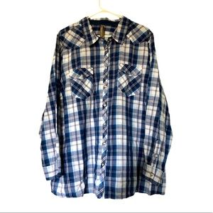Pennington's Choose Happiness Cotton Plaid Shirt Sz 4xl
